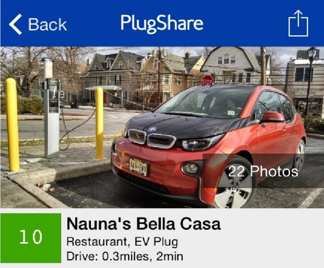 Plugshare electric-car charging station locator app, May 2015  [screenshot by Ben Rich]