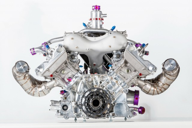 Porsche 919 Hybrid LMP1 race car's V-4 engine