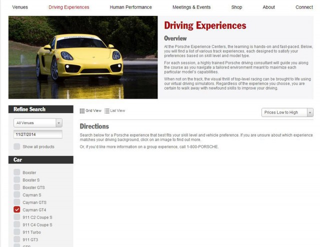 Porsche Cayman GT4 on list of eligible cars on Porsche Driving Experience website