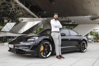 Rimac CEO Mate Rimac with Porsche Taycan