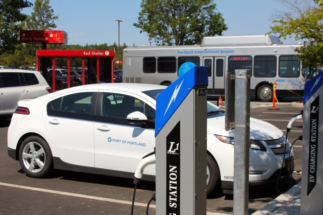 Post Level 1 Electric Car Charging Stations At Portland International Airport