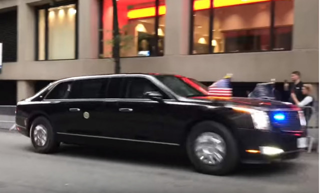 """President Donald Trump in his new Cadillac """"Beast"""" armored limo"""
