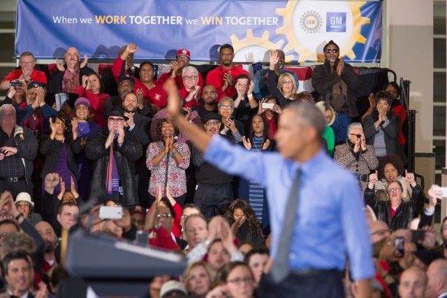 President Obama addresses gathering at the UAW-GM Center for Human Resources, Detroit, Jan 2016