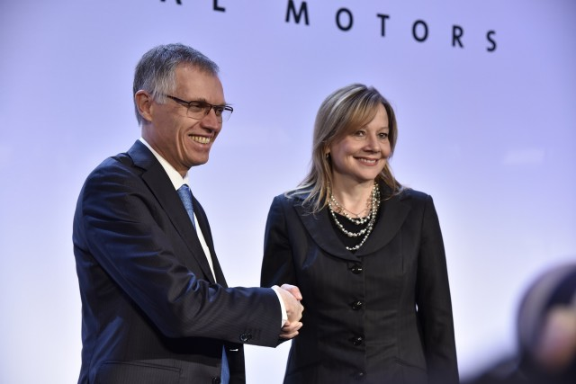 Carlos Tavares, chairman of the Managing Board of PSA, and Mary T. Barra, GM chairman and chief executive officer of General Motors, at this morning's press conference in Paris announcing the agreement under which GM's Opel/Vauxhall subsidiary and GM Financial's European operations will join the PSA Group. (March 6, 2017)