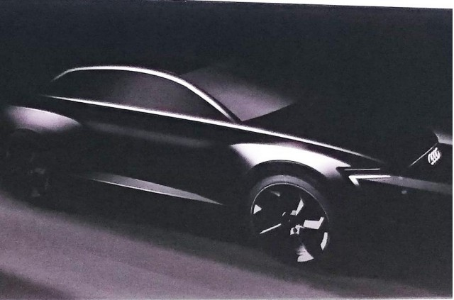 Purported Audi Q6 electric crossover teaser image. Image via Autocar.