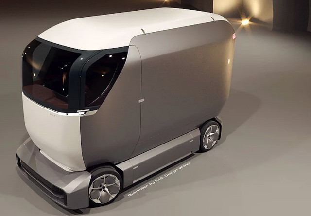 Quadrobot self-driving package delivery vehicle