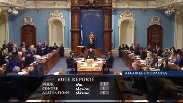 Quebec's ZEV mandate, Bill 104, received unanimous support in its provincial legislature