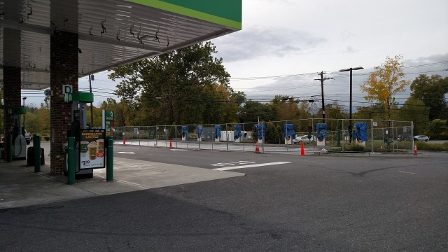 Quick Check convenience store with Tesla Superchargers under construction, Kingston, New York