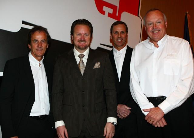 Race stewards Arie Luyendyk, Johnny Unser, Gary Barnard with Beaux Barfield - courtesy INDYCAR