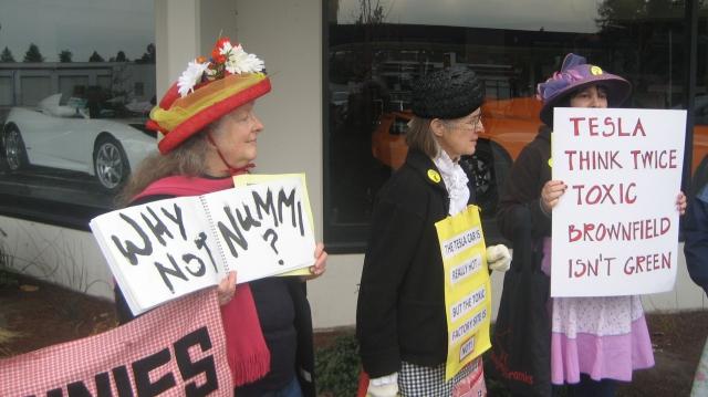 Raging Grannies Protest Tesla
