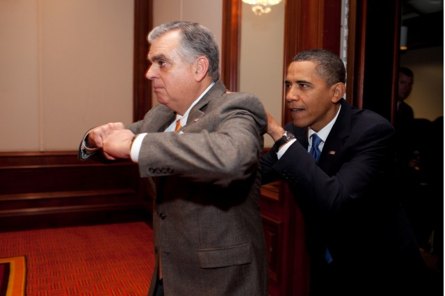 Transportation Secretary Ray LaHood, a Republican member of the Cabinet, feigns being a blocking back for President Barack Obama as he arrives backstage to meet with GOP House leaders before speaking to their issues conference at the Renaissance Baltimore Harbor Place Hotel in Baltimore, Md., Jan. 29, 2010. (Official White House Photo by Pete Souza; http://www.flickr.com/photos/whitehouse)