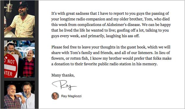 Ray Magliozzi's Note Regarding Tom Magliozzi