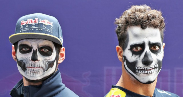 Red Bull Racing's Max Verstappen & Daniel Ricciardo celebrate Día de Muertos at 2016 Mexican GP