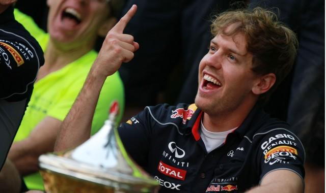 Red Bull Racing's Sebastian Vettel after winning the 2013 Formula 1 Bahrain Grand Prix