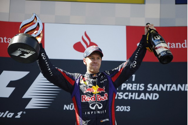 Red Bull Racing's Sebastian Vettel after winning the 2013 Formula One German Grand Prix