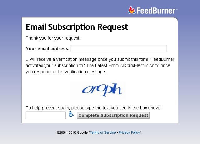 request form to receive All Cars Electric via daily e-mail