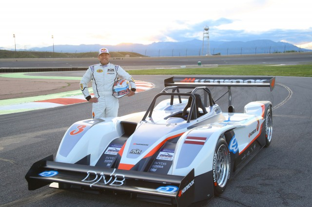 Rhys Millen and the eO PP03 at the 2015 Pikes Peak Hill Climb