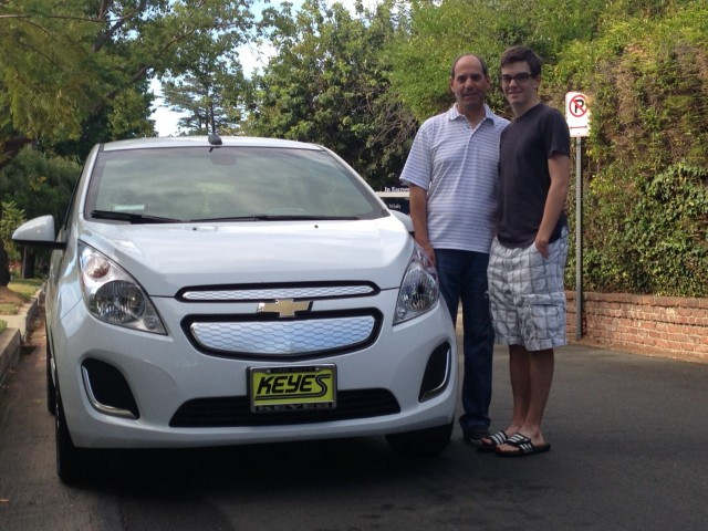 Awesome Rick And Alex Prell With New 2014 Chevrolet Spark EV, Studio City, CA