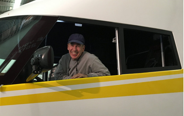 Robert 'Bob' Sliwa behind the wheel of the Shell Airflow Starship fuel economy record truck