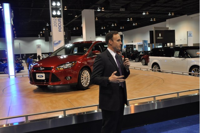 Robert Parker, car marketing manager, Ford Division, gives a presentation on the 2012 Ford Focus.