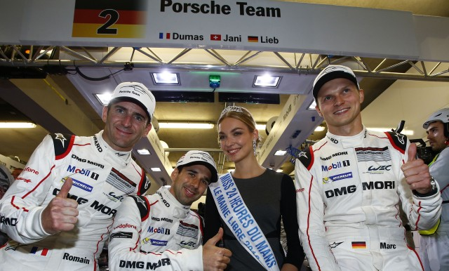 Romain Dumas, Neel Jani and Marc Lieb after winning the 2016 24 Hours of Le Mans