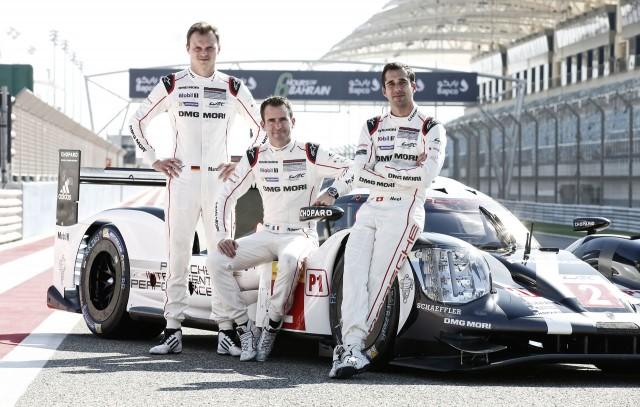 Romain Dumas, Neel Jani and Marc Lieb and the 2016 Porsche 919 Hybrid LMP1 race car