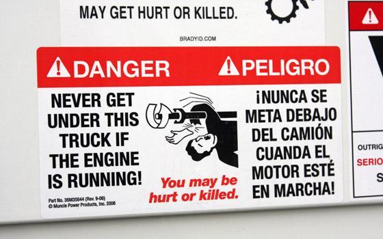 Running driveline warning sticker via PickupTrucks.com