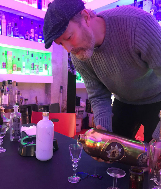 Lars Mikkelsen pouring $1.3 million bottle of RussoBaltique vodka at Copenhagen's Café 33