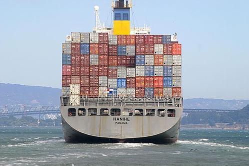San Francisco Bay cargo ship, by Flickr user Bernard Garon