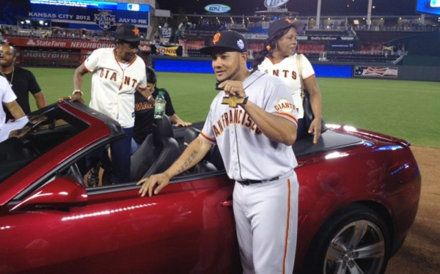 San Francisco Giant's Melky Cabrera and his new 2013 Chevrolet Camaro ZL1