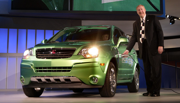 A plug-in hybrid drivetrain destined for the Vue in 2010 will now be used by a vehicle from one of GM's four  core brands