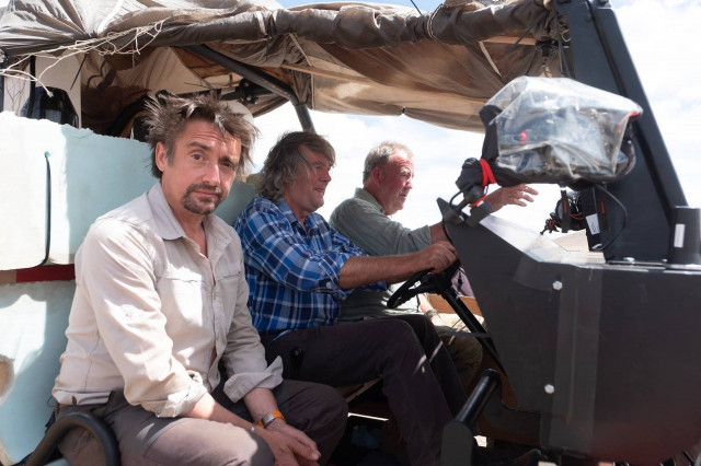 Scene from 'The Grand Tour' season three with Jeremy Clarkson, Richard Hammond, and James May