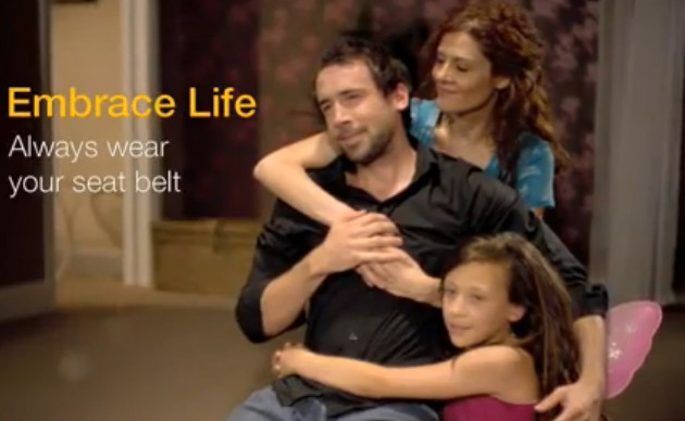 "Screencap from ""Embrace Life"" seatbelt ad"