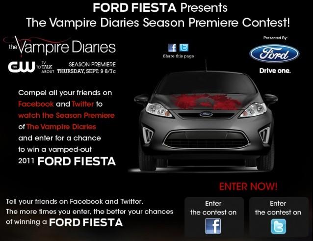 Screencap from Ford Fiesta 'Vampire Diaries' contest