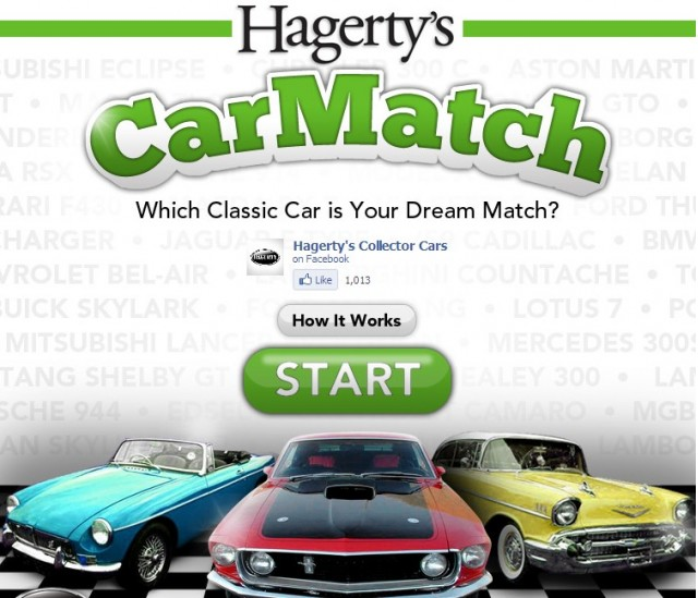 Screencap from Hagerty's CarMatch Facebook app