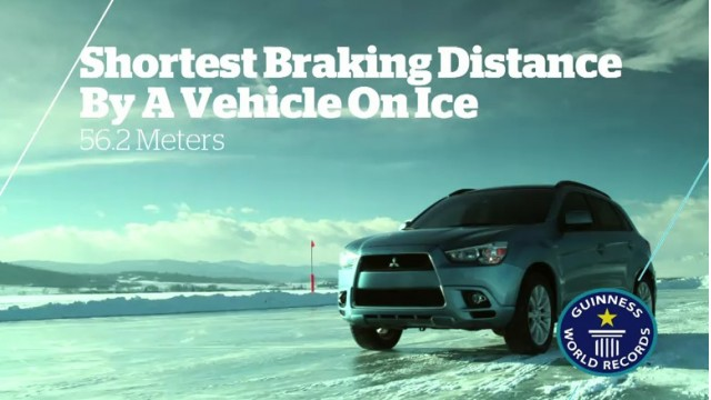 Screencap from Mitsubishi's Guinness World Record-breaking video