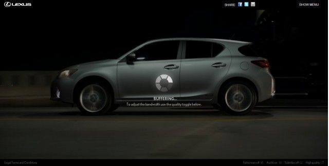 Screencap from the Lexus 'Dark Ride' microsite for the CT200h