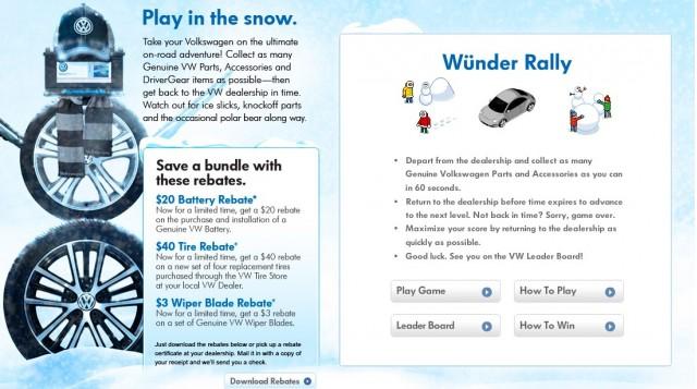 Screencap from www.VWWinterWunderland.com