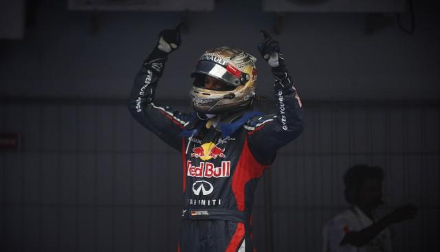 Sebastian Vettel after winning the 2012 Formula 1 Indian Grand Prix