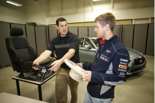 Sebastian Vettel helps engineers at Infiniti's North American Technical Center