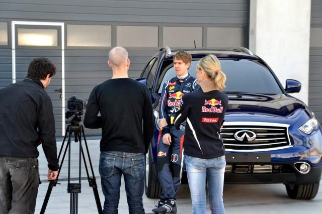 Sebastian Vettel, Infiniti's new pitch man, on location in Spain.