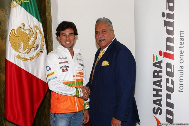 Sergio Perez and Force India boss Vijay Mallya