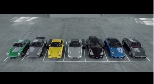 Seven generations of the 911 join to play a song