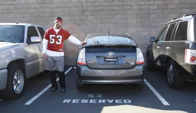 Nfl Linebacker Jeff Ulbrich Poses With His Toyota Prius At The San Francisco 49ers Training Camp