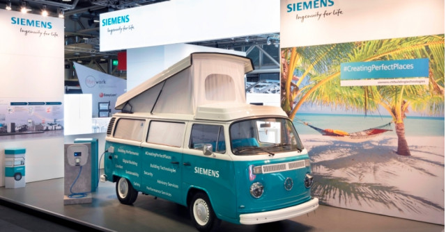Siemens Bull-E 1979 VW Bus electric conversion demonstration