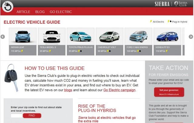 Sierra Club Electric Vehicle Guide - main screen