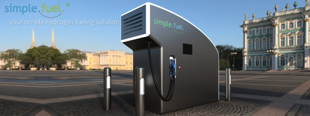 SimpleFuel prototype hydrogen fuel dispensing unit for home or business use