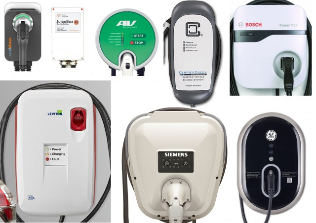 Size comparison of electric-car charging stations (EVSEs) on sale today, March 2016
