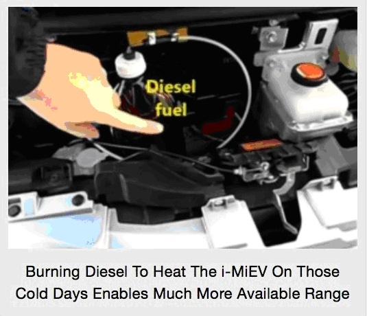 Small diesel fuel tank for cabin heat in Mitsubishi i-MiEV; owner, Stanislav Jaracz, of Somerset, NJ