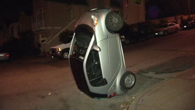 Smart ForTwo tipped over in San Francisco. Photo by NBC Bay Area.
